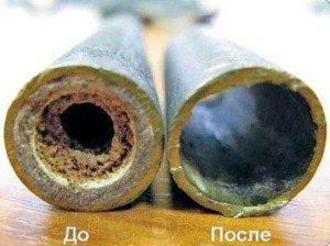 Результат очистки труб отопления