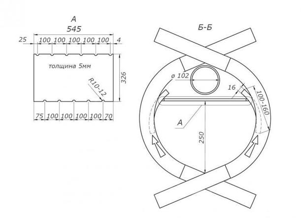 Печь бутакова своими руками схема чертеж
