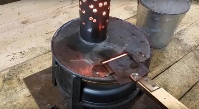 Печь-буржуйка на отработке