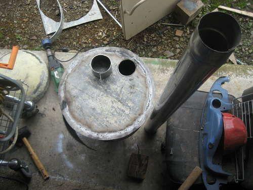 Установка жаровни с вырезом под патрубок дымохода
