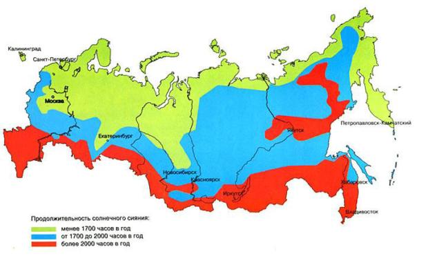Карта инсоляции России