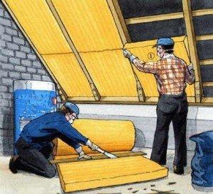 схема утепления крыши бани