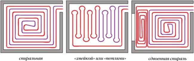 Варианты укладки труб в тёплом полу