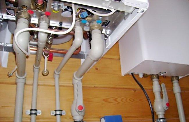 подключенный котел отопления