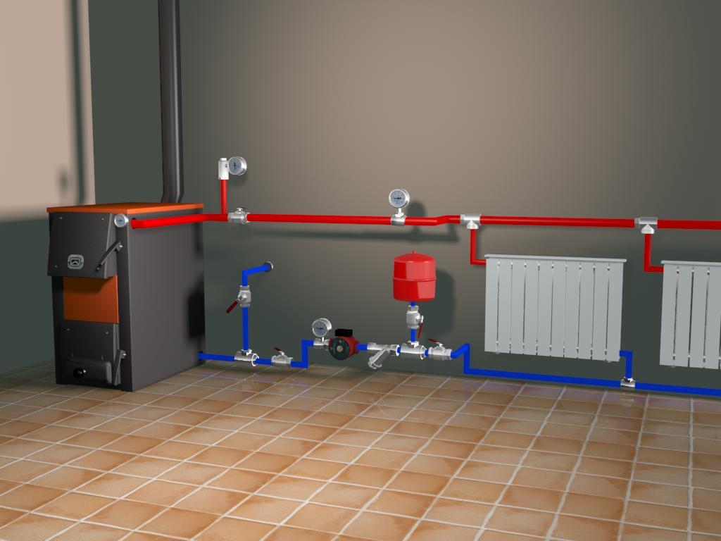 Монтаж открытой системы отопления