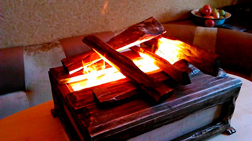 Имитация пламени при помощи водяного пара