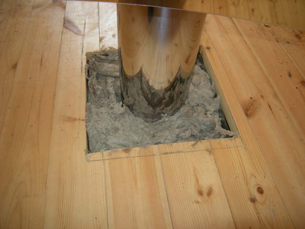 Короб после установки и монтажа дымохода