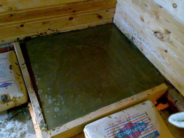 Заливка бетонного основания для печи
