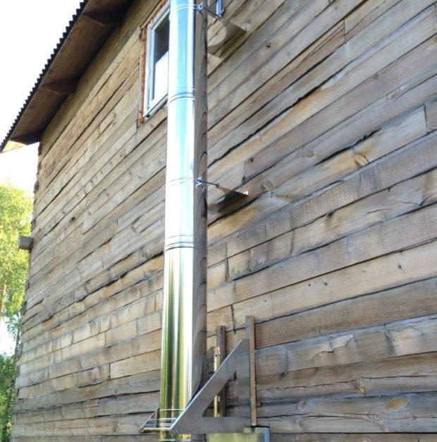 Крепление внешнего дымохода к стене строения