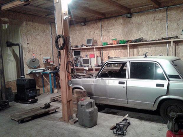Буржуйка в гараже